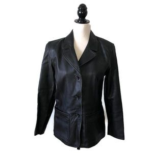 GAP Black Leather Blazer Jacket
